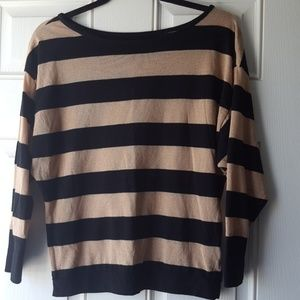 INC Black and Gold Striped Blouse
